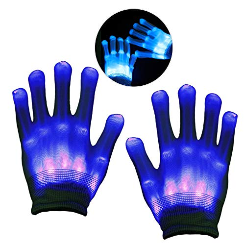 12 Für Jährige Kostüm 11 - KITY 3-12 Jährige Jungen Spielzeug,Handschuhe LED Jungen Geschenke 4-10 Jahre Skelett Beleuchtung Blinkt Finger Begeisterte Spielzeug 2019 Verbessert Auflage Maskerade(Blau)