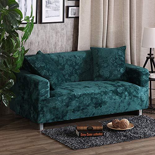 AFAHXX Samt Stretch hussen,Dick Sofa Überwürfe Volle Deckung Sofabezug für Sofa Möbel-schutzhülle-grün 235-300cm(92-118in)