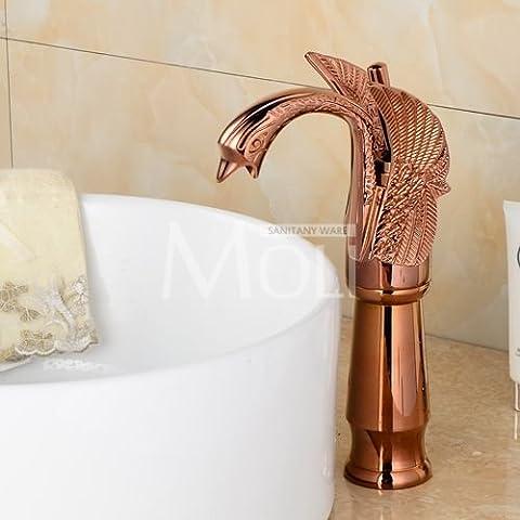Shen Zhou Swan robinet Chrome Fini bronze huilé Or rose et blanc Painted Doré Chrome de salle de bain Haut robinet d'eau