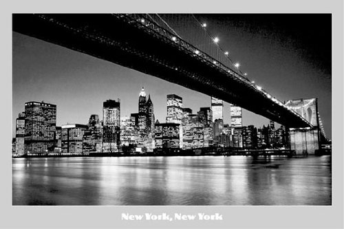 New York-New York B w-Brooklyn Bridge-Twin Towers Querformat, Papier, 60.96 x 36 cm, ES, ca. 91,5 x 61 cm - Twin Towers, Brooklyn Bridge