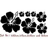 Auto Aufkleber Hibiskus Blumen Set 01