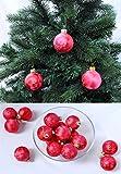Thüringer Glas Eislack Christbaumkugeln Rot Weihnachtskugeln 4 5 6 7 8 cm, Größe:Ø 5 cm (14 Kugeln)