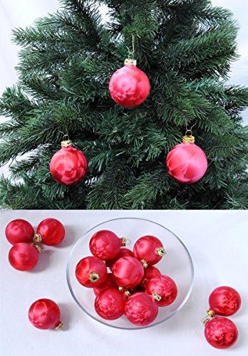 Thüringer Glas Eislack Christbaumkugeln Rot Weihnachtskugeln 4 5 6 7 8 cm, Größe:Ø 4 cm (16 Kugeln)