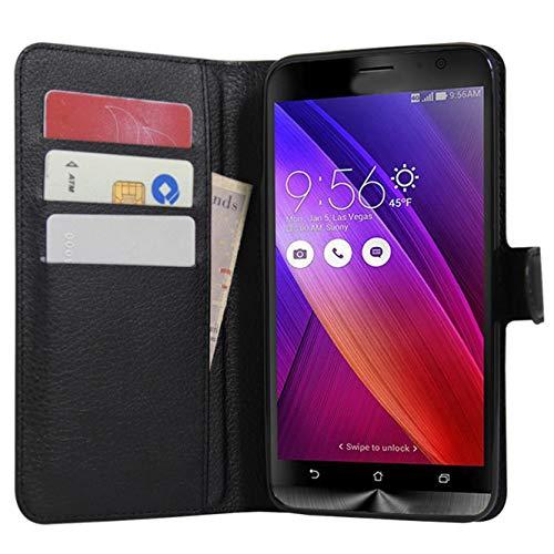 Zenfone 2 Hülle, HualuBro [All Around Schutz] Premium PU Leder Leather Wallet Handy Tasche Schutzhülle Case Flip Cover für Asus ZenFone 2 ZE551ML / ZE550ML 5,5 Zoll Smartphone - Schwarz