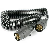 Warrior - Conector de Cable de Resorte para Remolque de 7 Pines, Conector de Remolque para Coche (2,5 m)