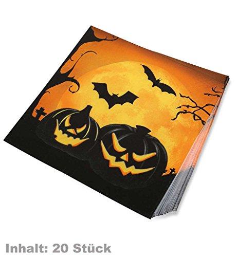 , 20 Stück, mit Grusel-Aufdruck *NEU bei Pibivbi (Halloween Servietten)
