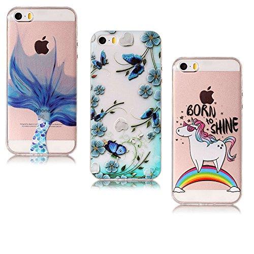 iPhone 7 Hülle Silikon, Handyhülle iPhone 7S Silikon, LuckyW 3X Don't Touch My Phone Schildkröte Ballon TPU Handyhülle für Apple iPhone 7 7s (4.7 zoll) Soft Silikon Tasche Transparent Schale Clear Kla Blume Schmetterling Einhorn