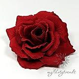 myPartytrends Elegante, prächtige Haarrose mit Samtüberzug in rot (Ø 13 cm; Höhe 6 cm) (Samtrose, Samtblüte, Samtblume, rote Ansteckrose, Haarblume)