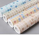 Hode Adesivi per Piastrelle per Bagno e Cucina, Impermeabile PVC Autoadesivo Decorazione,Mosaico,40X300cm,Adesivi per Piastrelle per Muro di Piastrelle (Colore Chiaro)