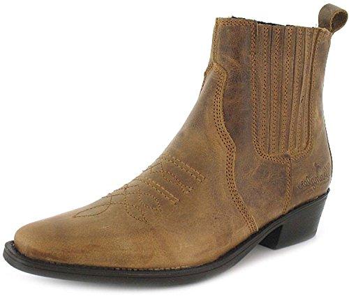 Nuovo Da Uomo/Gents Brown Wrangler Slip-On Tomaia E Suola In Pelle Stivali Da Cowboy Marrone - NUMERI UK 7-12 - Marrone, 44