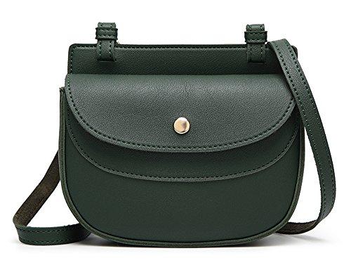 Xinmaoyuan Borse donna borsa a tracolla fibbia magnetica retrò Messenger Bag Pu quadrato piccolo sacchetto,Nero Verde