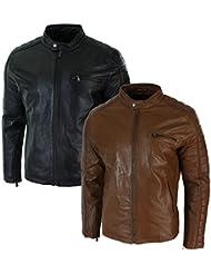 Blouson homme veste biker cuir véritable coupe slim cintrée noir marron clair style vintage rétro