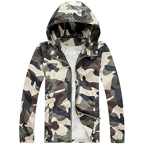 FEITONG Al aire libre de los hombres Camuflaje Velocidad ropa seca corriendo ropa exterior de la chaqueta al aire libre