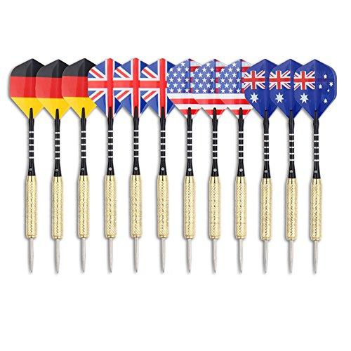 Haberi Lot de 12 fléchettes pointe aiguille en acier inoxydable avec quatre style drapeau national vols, tiges en aluminium et corps en laiton