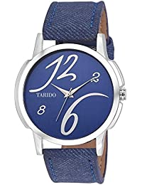 Tarido New Style Blue Dial Leather Strap Analog Wrist Watch For Men/Boy