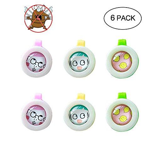 Pawaca Moskito-Abwehrmittel 6 Pack Outdoor-Insektenschutzmittel Abzeichenclip Natursicher DEET-Free Schädlingsbekämpfungs-Moskitoabwehrmittel Patch-Schnalle Für Kinder Erwachsene -