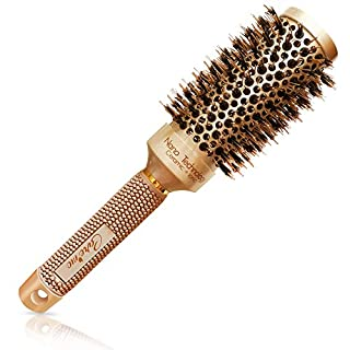 """Blow-dry Round Brush with Natural Boar Bristles for Salon-Like Blowouts 