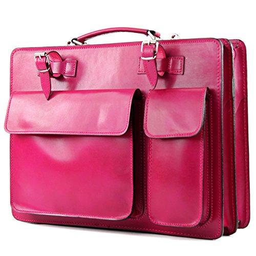modamoda de - ital. Ledertasche DIN A4 Lackleder Kroko Prägung Business Aktenkoffer NL01 Pink