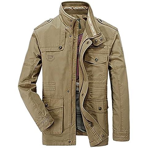JJZXX Uomo 100% cotone casuale stand Collar Giacca leggera da Outdoor Coat