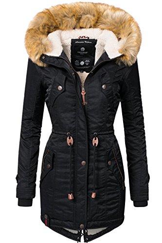 fake fell jacke Navahoo Damen Winter Mantel Winterparka La Viva (vegan hergestellt) Schwarz Gr. S