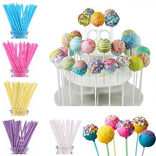 FiYenn 100x Cake Pop Sticks 15 cm,Kitchencraft,Papier Stiele für Kuchen - 5 Farben