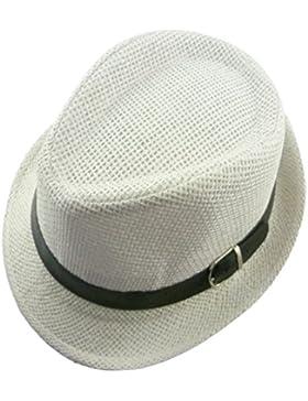 Leisial Cappello dei Bambini Tinta Unita Paglietta Cappello di Jazz Topper visiera,52CM,cachi