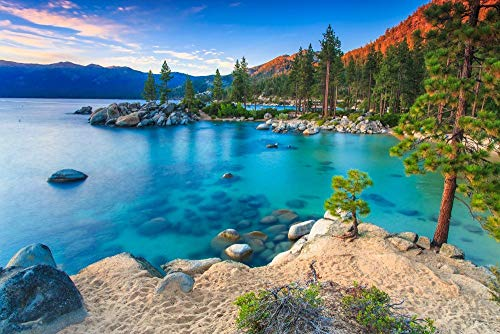 Benutzerdefinierte Größe 3D Fototapete Lake Tahoe at sunse Abnehmbare Tapeten selbstklebende Wandaufkleber Kunst Wohnkultur Wandbild 350x245 cm