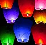 KingWinX Heart Shape Sky Lanterns, Pack of 10 Pcs Mixed Colors