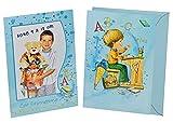 3 tlg. Set Fotorahmenkarte + Umschlag - Jungen Schulanfang Dankeskarte Schuleinführung blau Foto Party