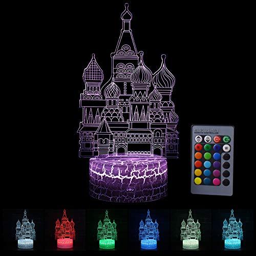 LED Nachtlicht 3D Kinder Stimmungslicht Fernbedienung Nachttischlampe 7 Farben ändern Touch Switch Schreibtisch Lampen Geburtstag Weihnachtsgeschenk Burg