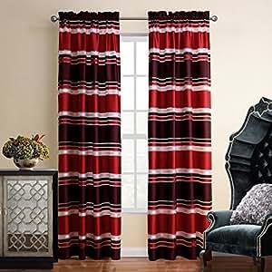 Weare Home Rot Elegant Einfach Modern Hochwertig Polyester Schlafzimmer  Wohnzimmer Kinderzimmer Stoffdruck Schlaufen Dekoschal Gardine Vorhang