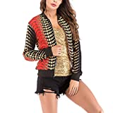 Rosennie Damen Mode Lange Ärmel Spitze Blazer Anzug Beiläufig Jacke Mantel Herbst Winter Langram Bluse Outerwear(Orange,M)