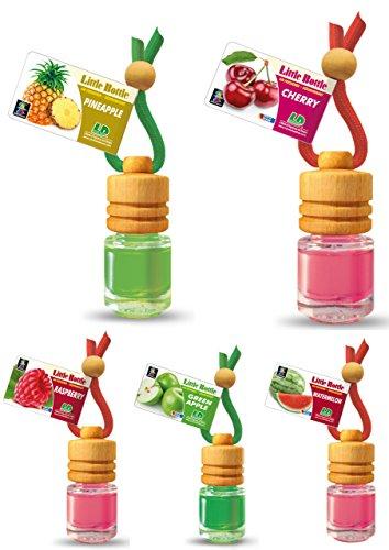 Preisvergleich Produktbild 5 Stück elegante Duftflakons fürs Auto Autoduft Lufterfrischer Topseller Früchte Mix: Ananas, Apfel, Himbeere, Kirsche, Wassermelone.