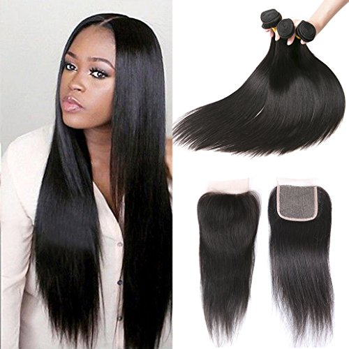 Peruvian Hair Extensions Straight Hair Products 3 Bundles With Lace Closure Pieces Natural Color 340G 22 24 26 +20