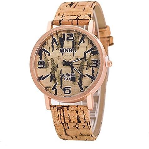 Reloj de cuarzo correa de cuero de grano de madera con estilo , 1