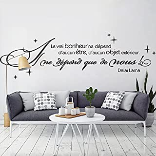 decalmile Wall Decals Quotes Le vrai bonheur ne dépend d'aucun être Black Wall Letters Stickers Removable Family Wall Art for Living Room Bedroom