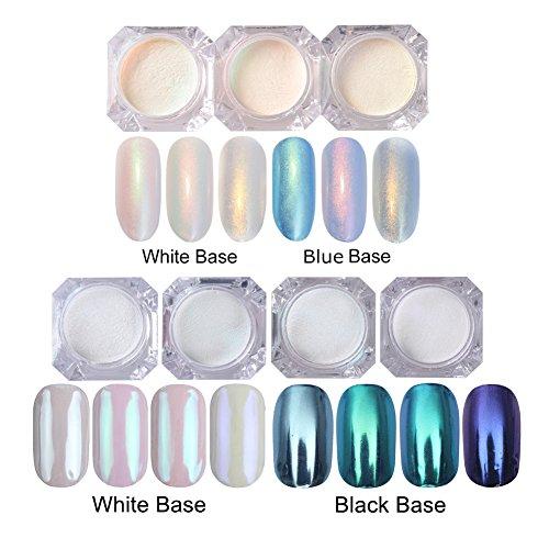 NICOLE DIARY Nagelpuder Set 3 Boxen Glänzende Nagel Glitter Perle Pulver (3 Farben) + 4 Boxen Blaue Maniküre Nail Art Glitter Chrom Pigment Dekoration (4 Farben) (French-tip Shellac)