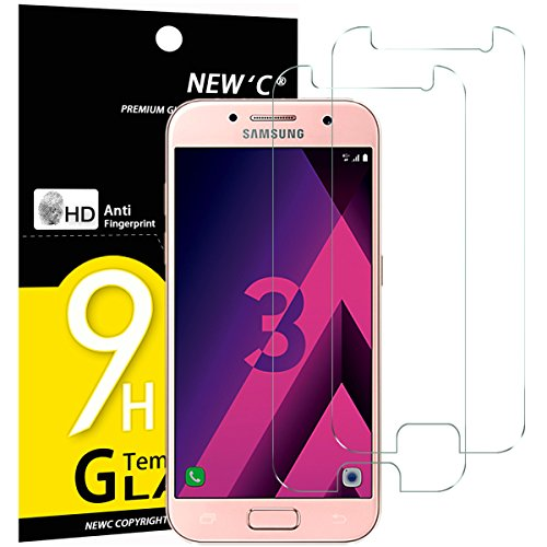 NEW'C PanzerglasFolie Schutzfolie für Samsung Galaxy A3 2017, [2 Stück] Frei von Kratzern Fingabdrücken und Öl, 9H Härte, HD Displayschutzfolie, DisplayschutzfolieSamsung A3 2017