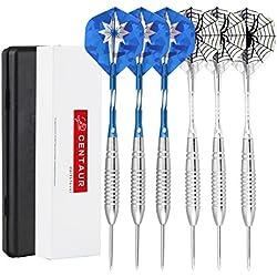 Centaur Pack de 6dardos de punta de acero de 20gramos. Con cañas de aluminio y 2Estilo Plumas + casos, Professional metal Dardos puntas