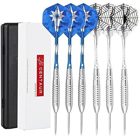 Centaur de 6 paquetes de acero dardos de punta de 20 g con ejes de aluminio y 2 Vuelos Style + los casos, profesional del metal dardo consejos de