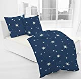 JACK by Dormisette Fein Biber Bettwäsche Stern Sterne Blau Weiß, Größe:155x220cm Bettwäsche