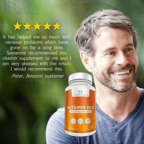 51IT1hWME0L - Vitamina B12 Metilcobalamina 1000mcg 365 Tabletas (Suministro para 12 Meses) | Reducción del cansancio y la fatiga y normalización de la función del sistema inmunológico