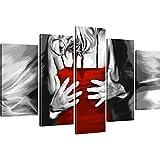 Mann und Frau: Der Tanz Wandbilder Kunstdruck Schwarz-Weiss Rot - 175x100 cm 5-Teilig: Rot