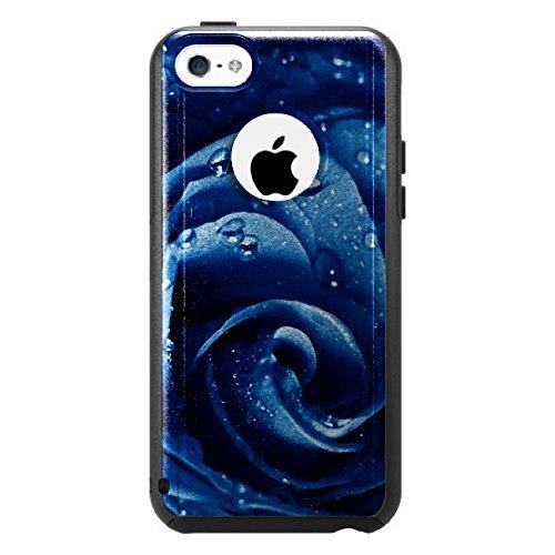 DistinctInk Fall für iPhone 5C Otterbox Commuter Gewohnheits-Fall Blau Dew Covered Rose auf schwarzem Etui (5c Fällen Otter Box Blau)