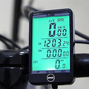 Ordenador de bicicleta de OriGlam, velocímetro inalámbrico para bicicleta, multi función, impermeable, cuentakilómetros con gran pantalla LCD
