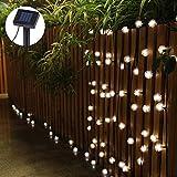 Uping Solar Lichterkette 20 led Globe Chuzzle Schneeball für Party, Garten, Weihnachten, Halloween, Hochzeit, Beleuchtung Deko in Innen und Außenbereich usw. Wasserdicht 4.5M warm weiß