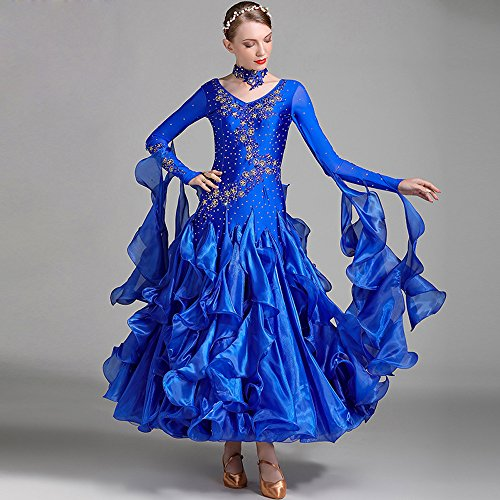 ZTXY Moderne Dame Große Pendel Hand Stickerei Modernen Tanz Kleid Mit Armband Tango Und Walzer Tanz Kleid Tanzwettbewerb Rock Lange Ärmel Strass-Tanz-Kostüm,Blue,XXL