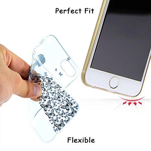 iPhone 6 Plus Coque, iPhone 6s Plus Coque, OUJD Housse étui de Protection en TPU Souple Silicone Transparent Doux Antichoc Ultra-Thin Fine Premium léger élégant Patterns Transparent Impression Pattern Fée de Papillon