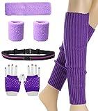 Frauen 80er Jahre Set Neon Knit Running Stirnband Armband mit Beinwärmern