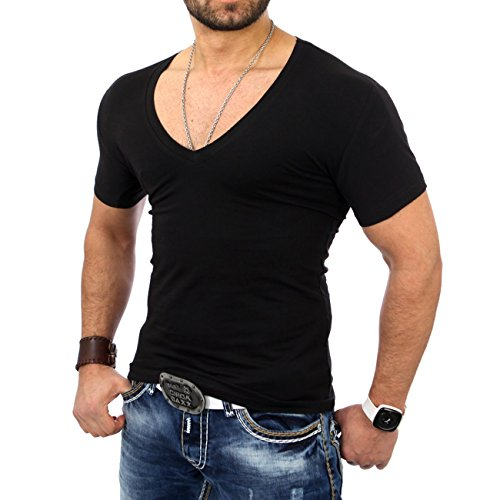 Reslad Herren V-Neck T-Shirt RS-5052 Schwarz